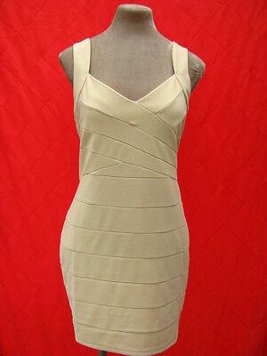 Beige Cream Backless Bodycon Bandage Dress 10 - 12 - 14 Small medium large BNWT