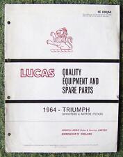 LUCAS TRIUMPH MOTORCYCLES & SCOOTERS SPARE PARTS LIST 1964 REF- CE830/64