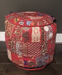 Image Is Loading Indian Handcrafted Red Pouffe Footstool