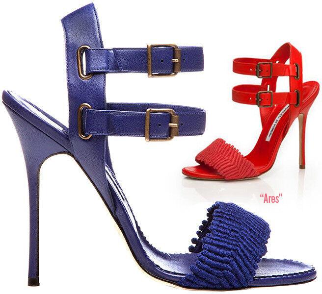 Nuevo Nuevo Nuevo Sandalias de Manolo Blahnik Ares y Correa en el tobillo De Piel Azul Real Tacones Zapatos 40.5  promocionales de incentivo