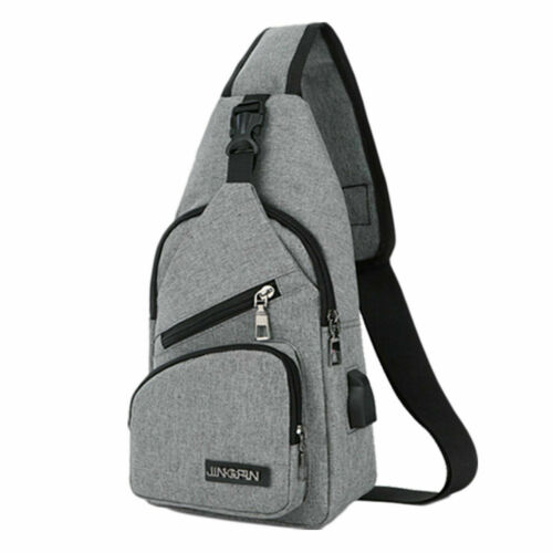 USA Men/'s Nylon Chest Bag Shoulder Pack USB Charging Port Crossbody Handbag Xmas