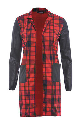 NEW WOMENS RED TARTAN CHECK LONGLINE DUSTER COAT WITH PVC SLEEVES
