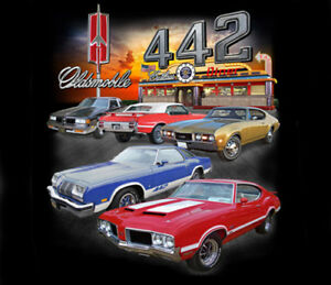 GM-Oldsmobile-Cutlass-442-Diner-Adult-T-shirt