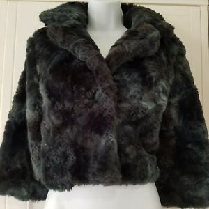 Super Coat Faux Green Button Jacket Fastening Womens Fur Soft Black Zara Blue L 4xPYx8wIn