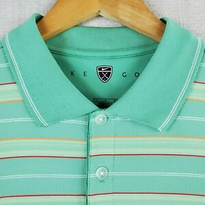 NIKE-GOLF-Size-Large-Polo-Shirt-Green-Striped-Vented-DRI-FIT-Mens-Breathable