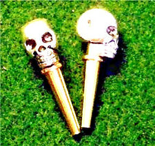 2- Cribbage Board Tibetan Silver Metal Skull-Top Pegs With Velvet Pouch  USA