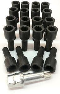alloy wheel tuner bolts BLACK M12 x 1.5 with 17mm hex star key - Vauxhall x 20