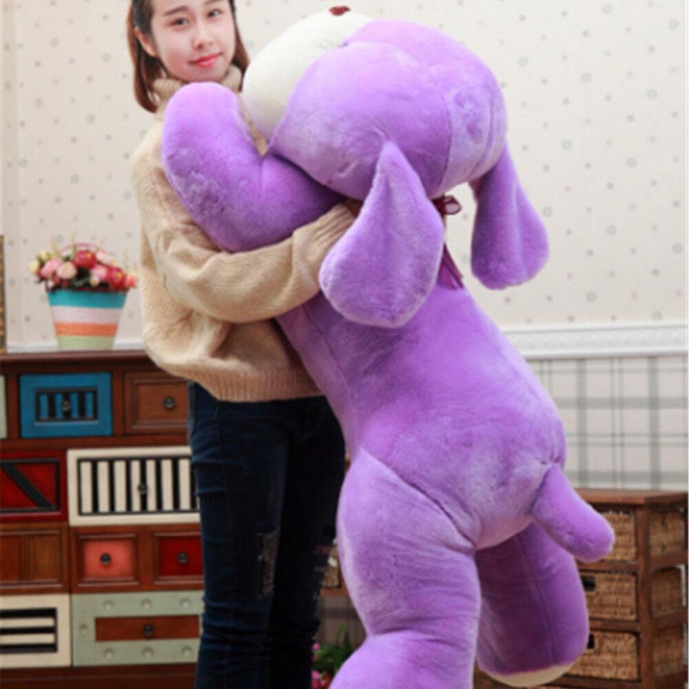 Giant Purple White Anime Lying Dog Plush Soft Toy Cuddly Stuffed Dog Animal Gift