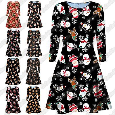 New Ladies Santa Snowflake Print Xmas Gift Skater Long Sleeve Party Swing Dress Zu Verkaufen