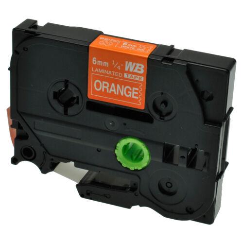 Schriftband für Brother P-Touch TZE-615 8m//6mm Weiß auf Orange