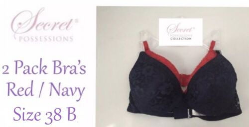 Womens Bra SET OF 2 Size 38B Red//Navy Padded Adjustable Straps New With Tags