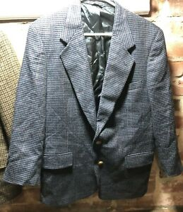 Men S Austin Reed Navy Wool Houndstooth Sports Coat Size 42s Ebay