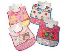 12 X Baby Girls  100% Peva Velcro Bib  Bibs Job Lot Bulk Buy Wholesale 12 Pack
