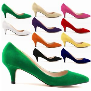 Super-Women-039-s-Low-Kitten-Heel-Court-Shoes-Ladies-Smart-Work-Pumps-Casual-Slip-On