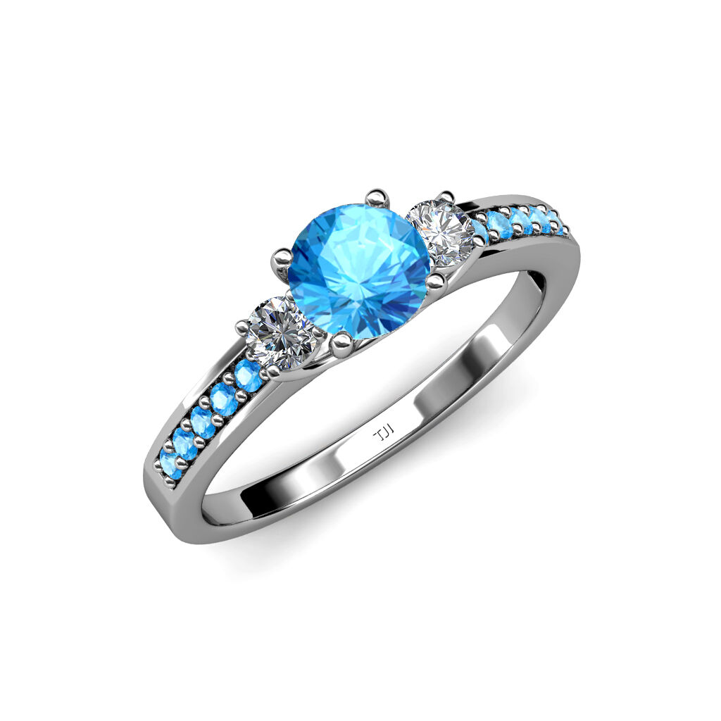 bluee Topaz & Diamond 3 Stone Ring with bluee Topaz on Side Bar 1.50 cttw 14K gold