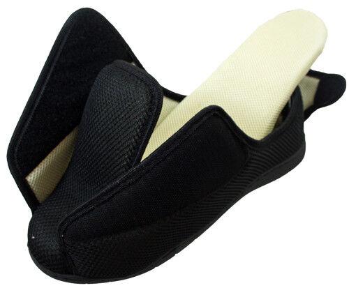 Wide Fit montage Memory Foam Touch Tartan Noir Antidérapante En Dehors De Chaussure Pantoufles