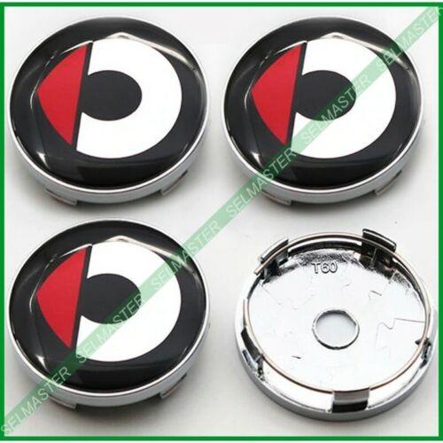 4 Tappi Coprimozzo logo Cerchi in lega Stemma rosso Smart Fortwo Forfour 60 mm