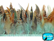 1 yard - Aqua Blue Chinchilla Rooster Feathers Trim