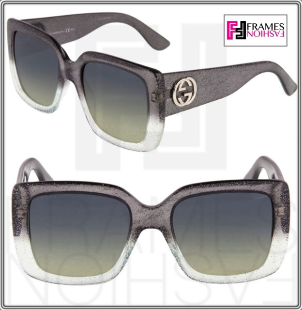 32821159da9 GUCCI GLITTER GG3814S Square Grey Silver Gradient Sunglasses 3814 Optyl  Women