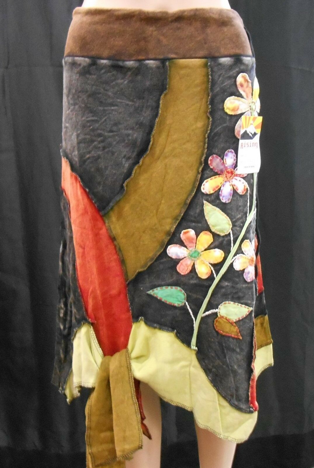 RISING INTERNATIONAL NEPAL Handmade SKIRT Multi-color FLORAL Applique with Tie