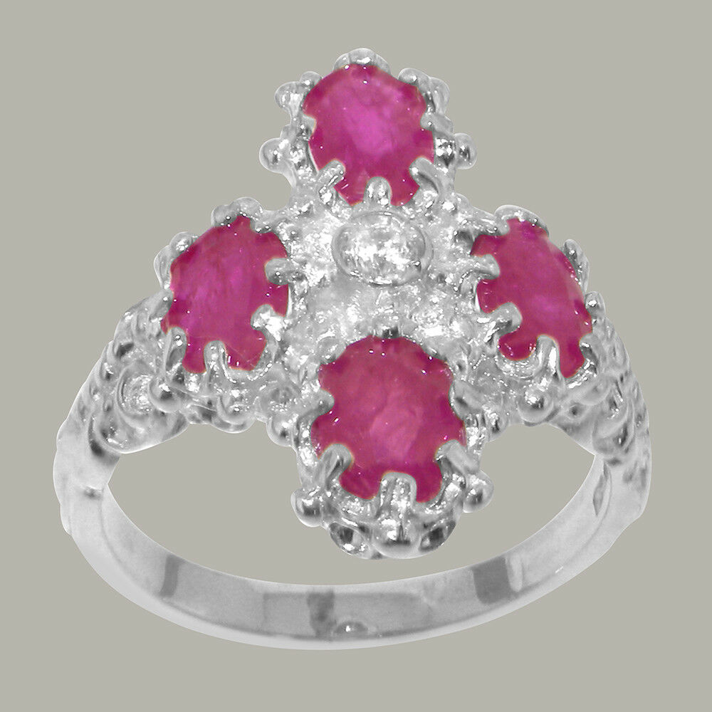 14k White gold Cubic Zirconia & Ruby Womens Cluster Ring - Sizes 4 to 12