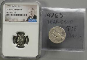 1926-S-Standing-Liberty-Quarter-Teardrop-amp-E-Die-Clash-US-Mint-Errors-amp-NGC-10C