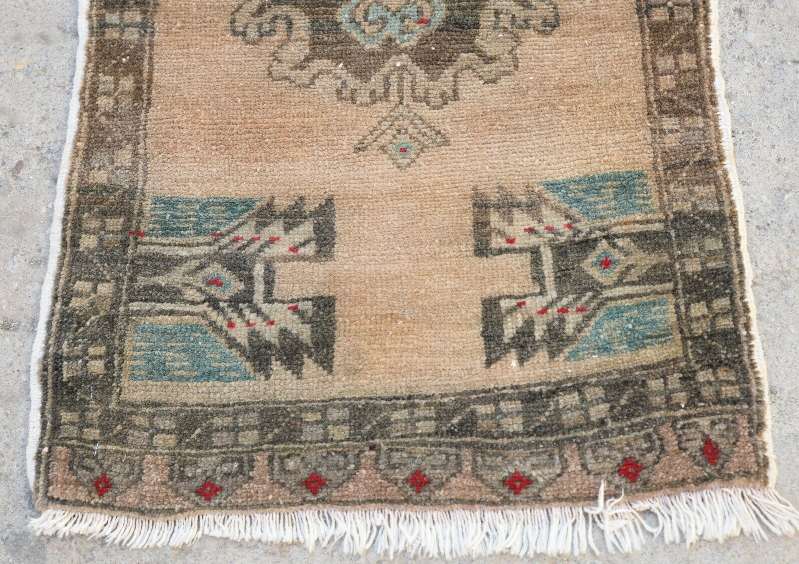 Old Old Old Door Mat Rug, Turkish Old Small Rug, Vintage Pastel Bohemian Rug, 1'8x3'3 913034