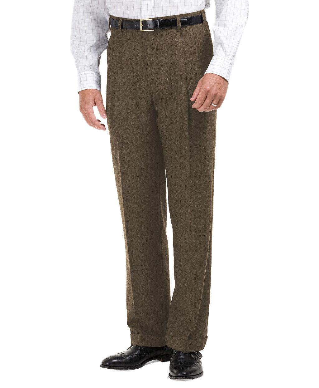 Brooks Bredhers Mens Taupe Brown Wool Pleated Cuffed Dress Pants 34W  30L 5443-4