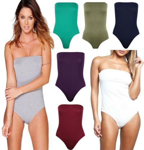 Womens Plain Boobtube Bandeau Bodysuit Ladies Strapless Sleeveless Leotard Top