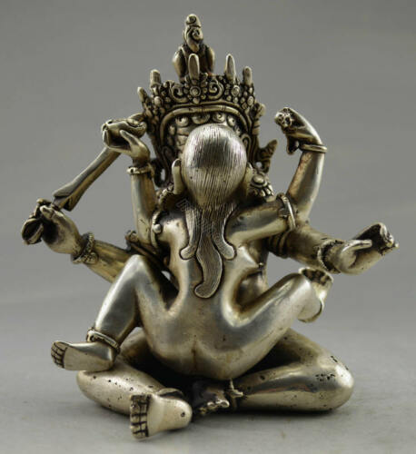 Collectible Decorated Old Handwork Tibet Silver Carved Buddha Make Love Statue