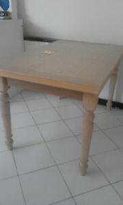 tavolo legno, legno naturale sbiancato, gambe tornite, con allunghe ...