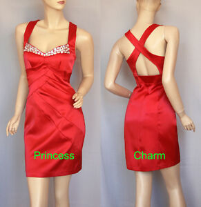 Cocktail-Party-Prom-Dress-Jewelled-Red-Size-8-NEW