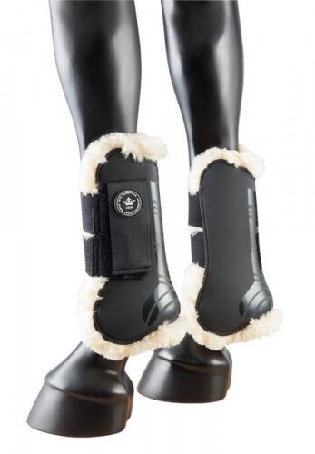 Pfiff Gaiters and Fetlock Boots Faux fur Dressage Gaiters Full Black White