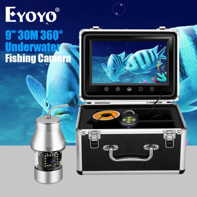 30M Underwater Fishing Camera 9 Inch 360°Visual Fish Finder 18pcs Yellow Light