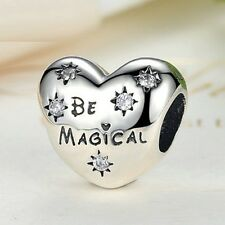 Exquisite 925 Disney Be Magical Heart Charm With Cubic Zirconia Wishing Stars