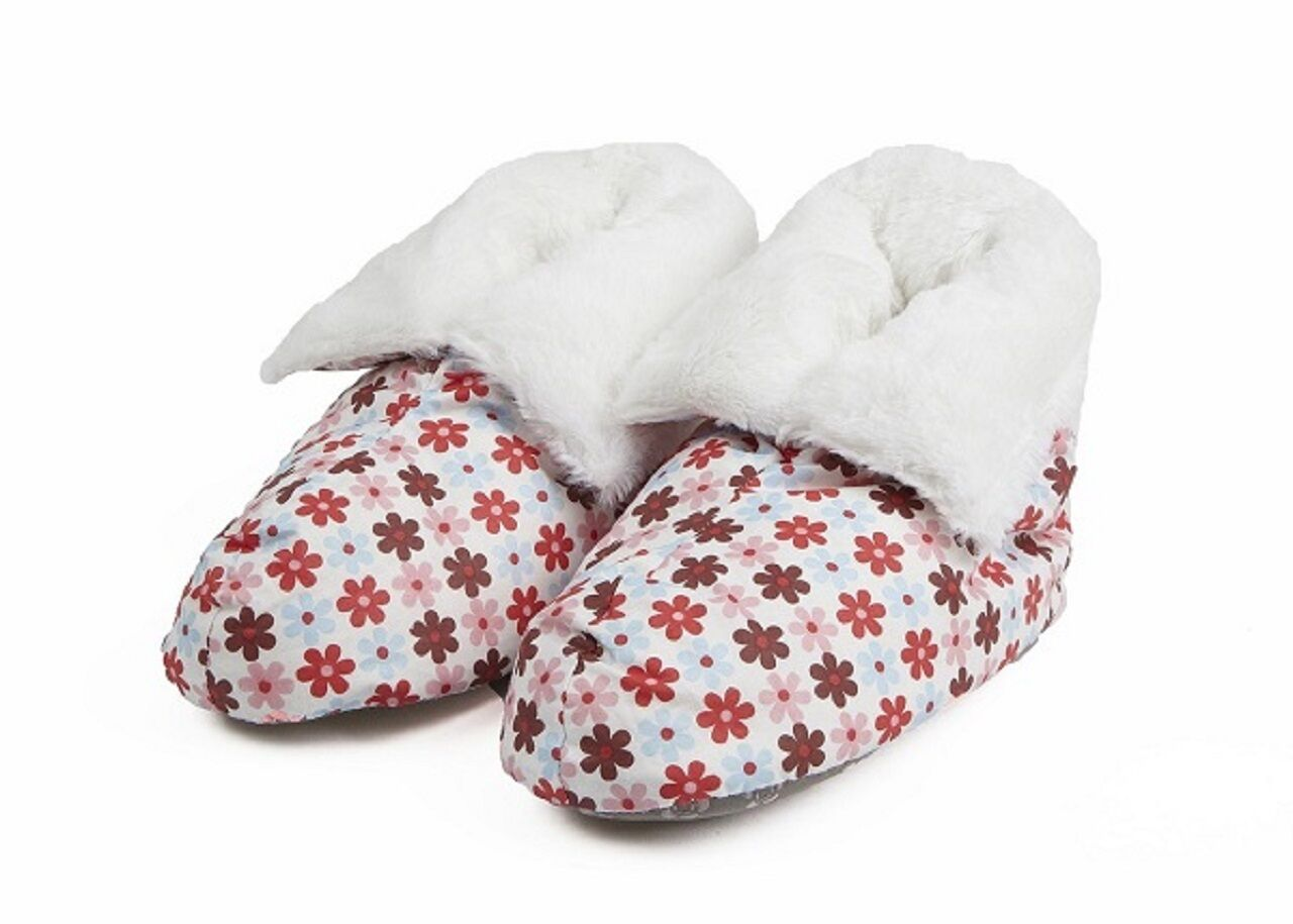 Ladies Daisy Floral Feather Pillow Boots Fur Lined Slippers One Size Fits UK 3-7