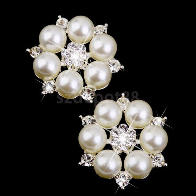 10 Crystal Pearl Flower Button Bridal Wedding Bouquet DIY Brooch Craft 28mm