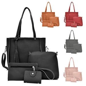 4 Pcs Women Designer Leather Hobo Handbag Tassel Shoulder bag Tote Purse Card