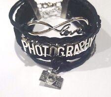 Rope Braided Infinity Love PHOTOGRAPHY Bracelet w Camera charm