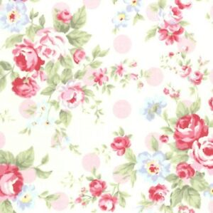 Cottage-Shabby-Chic-Lecien-Princess-Rose-Floral-Fabric-31265L-20-w-Pink-Dots-BTY