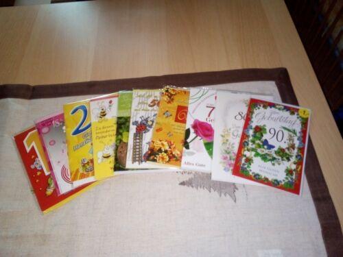 10 Stück Runde Geburtstage Glückwunschkarten set