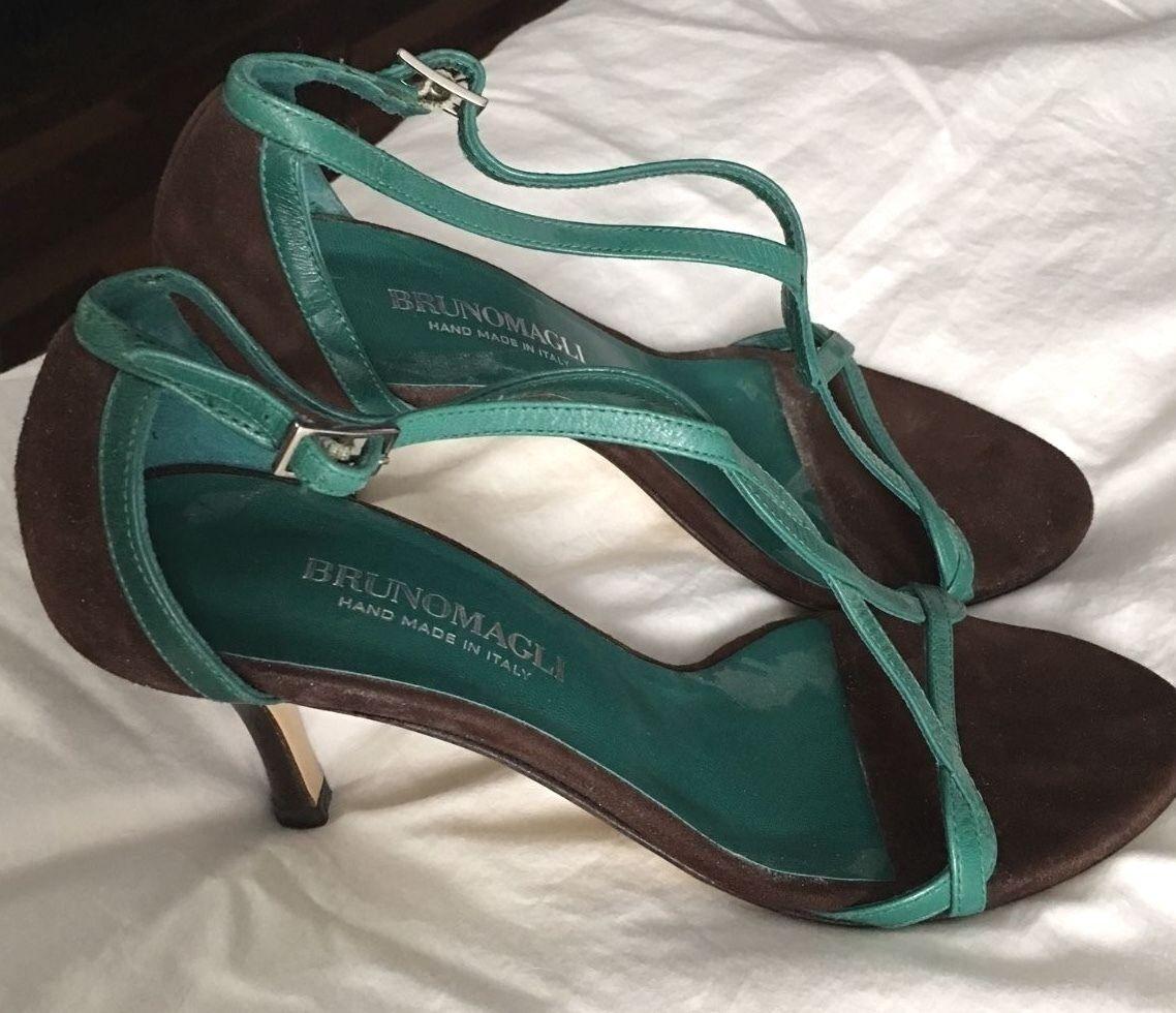 NEW BRUNO Schuhe MAGLI BROWN/PETROL GREEN STRAPPY HEEL SANDALS 37 Schuhe BRUNO BAG SZ 6.5 e482f2
