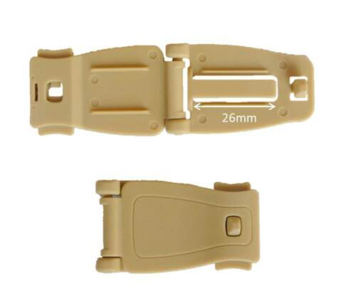 26mm Tan Webbing Strap Buckle Clip Connect MOLLE Military Army Bag Backpack