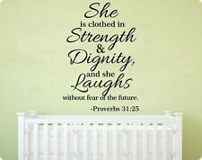 34ff She Is Clothed With Strength Dignity Proverbs Wall Sticker