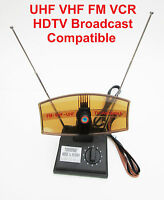 Rotating Indoor Tv Booster Antenna Uhf Vhf Fm Vcr Hdtv Broadcast Compatible