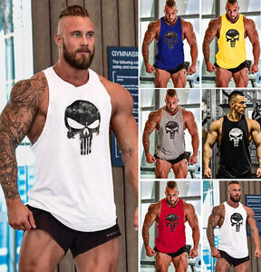 Mens Gym Skull T-Shirt Bodybuilding Sports Fitness Vest Muscle Tops Clothes