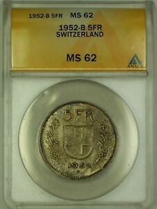 1952-B-Switzerland-5-Fr-Five-Francs-Silver-Coin-ANACS-MS-62