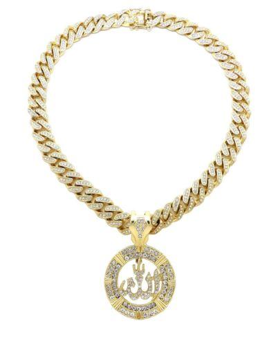 "Hip Hop Allah Pendant /& 12mm 20/"" Iced Box Lock Cuban Choker Chain Bling Necklace"