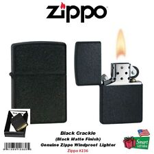 Zippo Black Crackle Lighter, USA Regular Classic Genuine Windproof #236