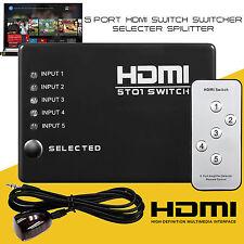 5 Puerto HDMI Interruptor Selector De Conmutador Divisor HUB & 1080p Control Remoto IR para PS3 HDTV